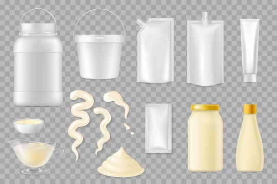Mayonnaise realistic packages vector mockup, food containers, plastic and glass jars. Mayonnaise sauce strokes or splashes, fresh product in bowls and bottles isolated on transparent background 3d set
