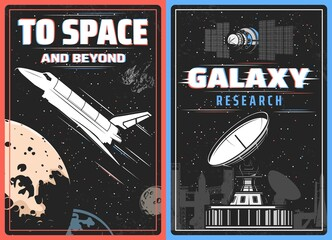 Fototapeta Galaxy research, outer space exploration retro vector poster with glitch effect. Spaceship explore cosmos vintage card with shuttle on planet orbit, satellite in universe or cosmic observatory antenna obraz