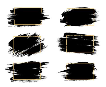 Grunge frames isolated vector rectangular borders with black rough scratched edges. Grungy vintage old texture, dirty spatter vignettes, retro design elements or photo frames on white background set