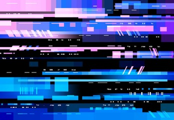 Obraz Glitch screen with pixels digital noise, vector background. No signal, distortion and glitch effect on display, neon blue red interference on TV or computer display, VHS video television - fototapety do salonu
