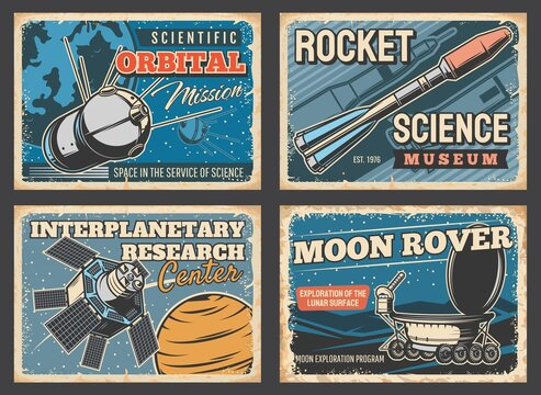 Space rocket, astronaut rocket and moon rover posters, vector retro vintage. Spaceship flight and universe exploration, interplanetary research center, outer space science and aerospace technology