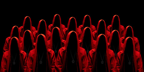 Obraz People dressed in a red robes looking like a cult members on a dark background. No face. Occult, sect concept.  - fototapety do salonu