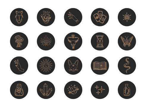 Highlights boho icons, gold line, witchcraft magic social media covers, minimalist modern trendy style story, vector symbols and mystic design elements, doodle shape illustration on black background
