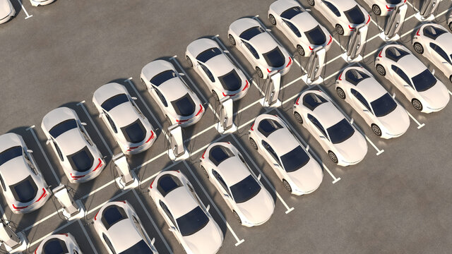 Big parking with chargers. Rows of electric cars are recharging. General view. 3d illustration