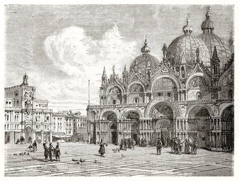 San Marco (St Mark's Basilica), Venice, Italy. Part of the fronting square and other prestigious buildings. Ancient grey tone etching style art by Maurand, Le Tour du Monde, 1862
