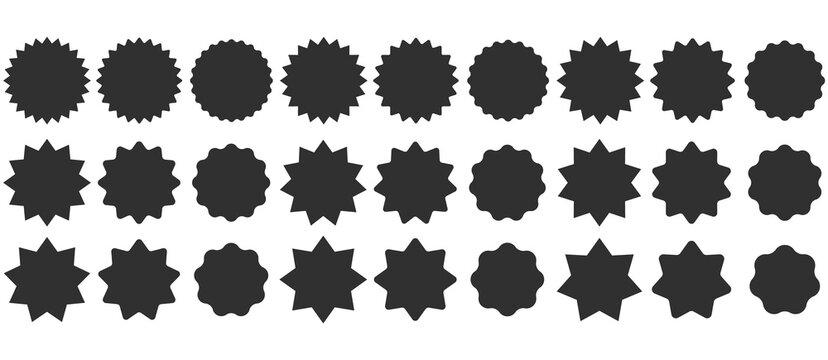 Set sunburst badges. Collection Star label. Different starburst isolated on white background. Vector illustration.