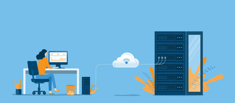 business technology cloud computing service concept and datacenter storage server connect on cloud with administrator and developer working concept