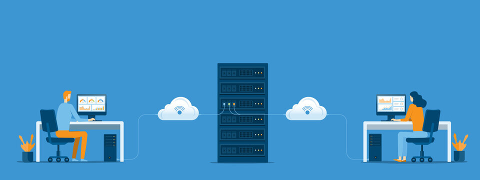 business technology cloud computing service concept and datacenter storage server connect on cloud with administrator and developer team working concept