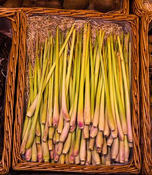 Fresh green lemongrass, traditional food ingredient of Asian cuisine