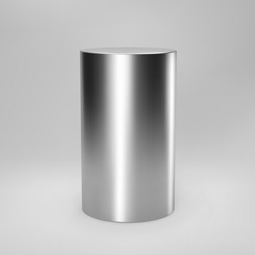 Silver 3d cylinder front view with perspective isolated on grey background. Cylinder pillar, chrome steel pipe, museum stage, pedestal or product podium. 3d geometric shape vector