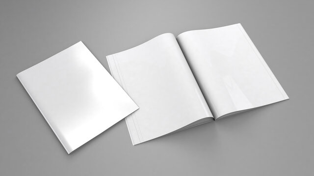 Open magazine mockup. Blank magazine template for copy space. Empty space in cover. Grey background. 3d render