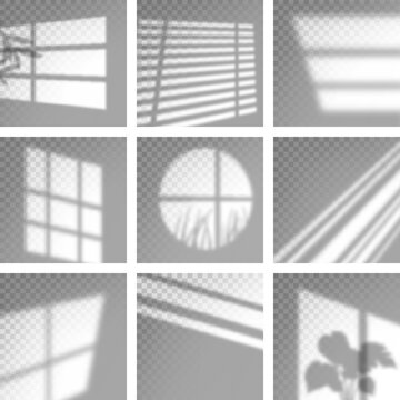 Long shadows from window. Monochrome overlay natural shades and light decoration decent vector templates
