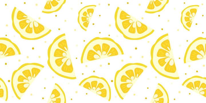 Yuzu japanese citron fruit seamless pattern vector illustration isolated on white background. Sliced citrus yuzu fresh fruit seamless texture.