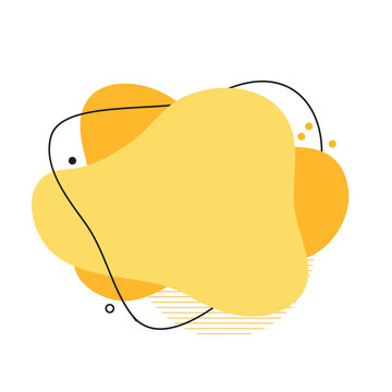 Abstract flowing yellow shapes modern graphic elements. Dynamical colored forms and line. Template design of logo, banners, flyer, presentation. Vector Illustration