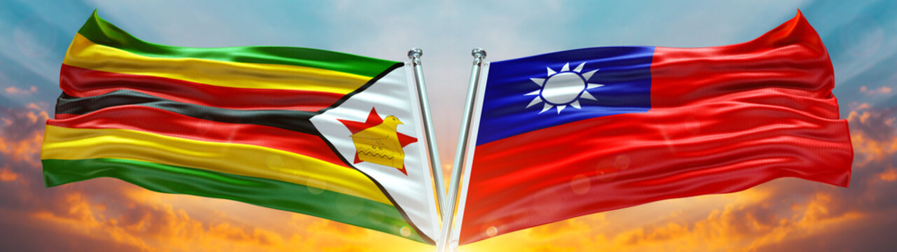 Zimbabwe flag and Taiwan Flag waving with texture sky Cloud and sunset Double Flag