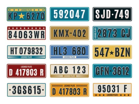 Car plates. Aluminum embossed retro auto numbers, metal licence identifications, color vehicle number combinations. Tags and frames template. Auto registration typeface vector set
