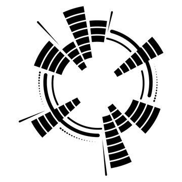 Geometric circular neon equalizer. Eq round audio soundwaves. Round music equalizer scale. Vector illustration.
