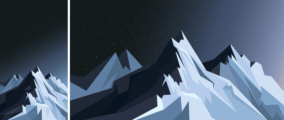 Mountains in moonlight. Nature scenery in vertical and horizontal orientation.