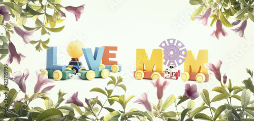 Mother's day message of multicolored puzzle pieces. Happy mother's day concept background.