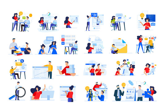 Set of modern flat design people icons of distance education, web development, cloud computing, project development, task management, online marketing, technology, technical support, startup, business