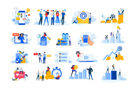 Set of modern flat design people icons. Vector illustration concepts of investment, business success, social network, Internet advertising, finance, live streaming, communication, star rating.