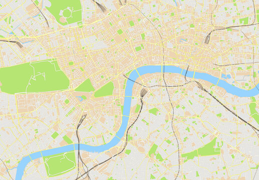 Urban city map of London, England