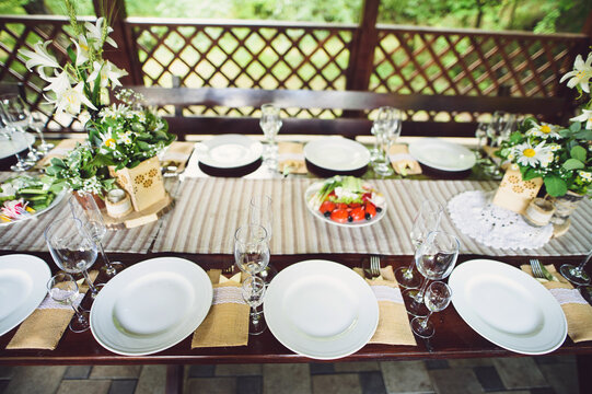 rustic decoration of festive table