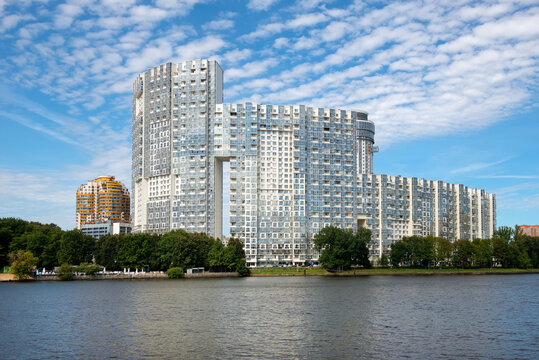 View of residential buildings in the city of Khimki on the bank of the Moscow Canal
