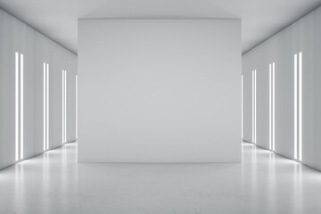 Fototapeta Blank grey partition in the center on modern empty hall with glossy floor and led lights on walls. 3D rendering, mockup obraz