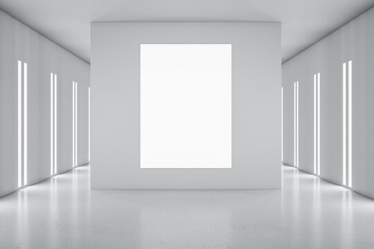 Blank white poster on light grey partition in styliesh empty room in grey shades and led lights on walls. 3D rendering, mockup