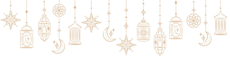 Ramadan Kareem Border, Islamic art Style Background. Symbols of Ramadan Mubarak, Hanging Gold Lanterns, arabic lamps, lanterns moon, star, art vector and illustration.
