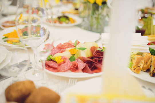 meat plate with melon and flowers