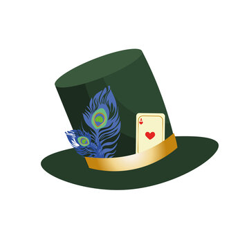 Stovepipe green hat of the mad hatter from Alice in Wonderland. Decorated with feather and playing card.
