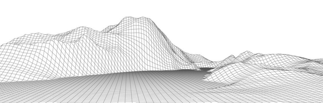 Wireframe landscape background. Digital landscape for presentations. Cyberspace grid. Vector illustration.