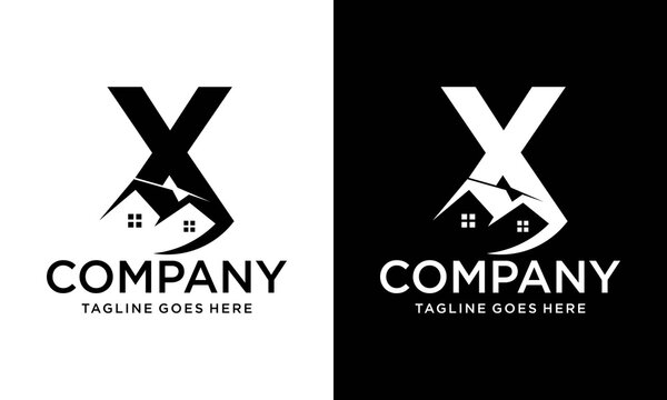 Logo design of X in vector for construction, home, real estate, building, property. Minimal awesome trendy professional letter icon. logo design template