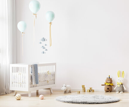 White nursery room interior background with baby bedding, toys, balloons, nursery mock up, kids room interior, 3d rendering