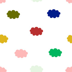 Cute seamless pattern with colorful clouds. Minimalistic print design for kids fabrics. Vector hand-drawn repeat background with clouds.