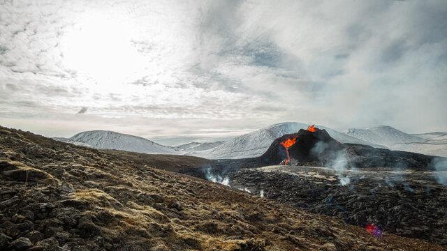 GELDINGADALUR, ICELAND. Erupting Fagradalsfjall volcano, 52 km from Reykjavík.  View of the eruption located at the Reykjanes peninsula.