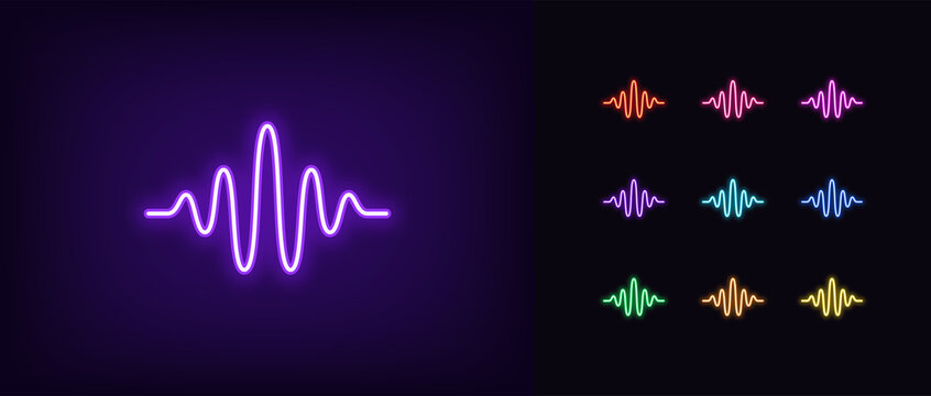 Neon sound wave icon. Glowing neon waveform sign, outline voice silhouette
