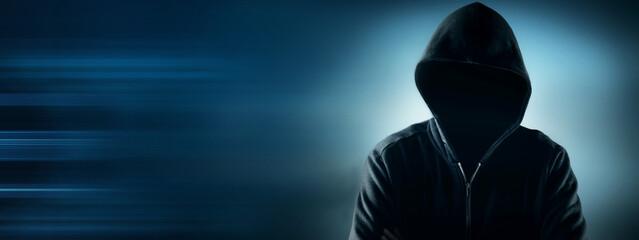 Cybersecurity, computer hacker with hoodie - fototapety na wymiar