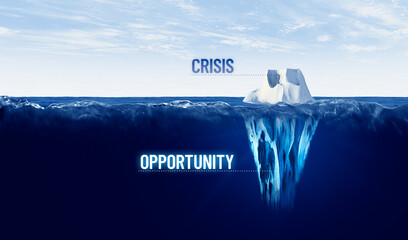 Obraz Crisis is opportunity concept with iceberg, crisis is visible, opportunity is hidden  - fototapety do salonu
