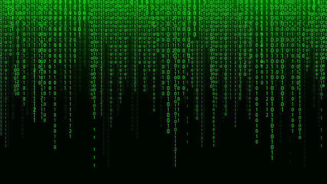 Green matrix background. Falling numbers on screen. Technology stream binary code. Digital vector illustration. Hacking concept.