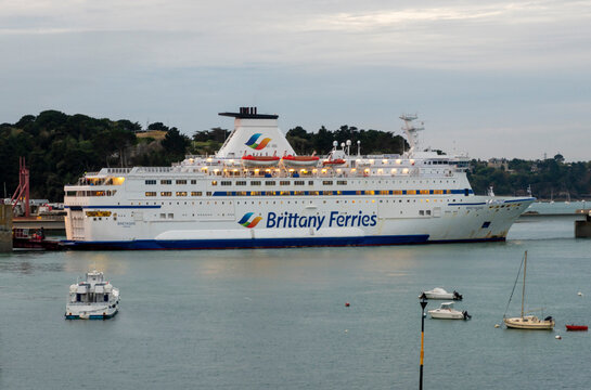 Saint Malo, France - october 01 2019 : sign and logo on the ferry hull of the Brittany Ferries company