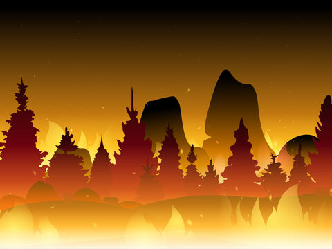 Fire in forest flat vector illustration. Wildfire background. Burning forest vector horizontal banner.