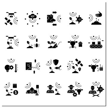 Smart farm glyph icons set. Consist of IoT sensors, irrigating land, pests and weeds elimination.Agricultural innovation concepts.Filled flat signs. Isolated silhouette vector illustrations