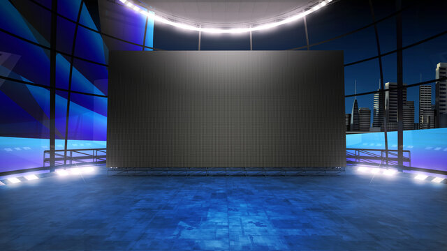 Event arena studio backdrop with a big videowall . Ideal for tv shows, presentations or events. A 3D rendering, suitable on VR tracking system sets, with green screen