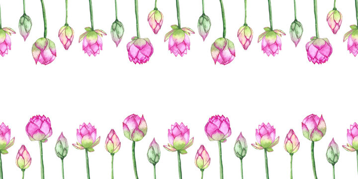 Lotus flower boarder isolsted on white background. Watercolor lotus flowers. Hand drawn boarder for invitations, greeting cards, textile, decoration, wedding cards.