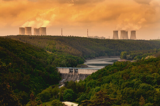 Nuclear power plant Dukovany and dam Dalesice in Czech Republic Europe