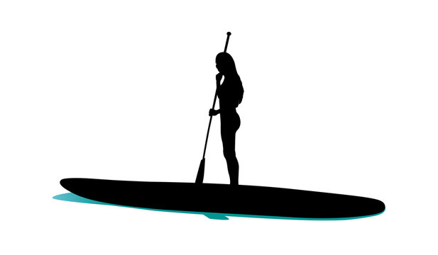 Young woman standing on sup board black silhouette