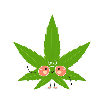 Cute funny Weed marijuana leaf character. Vector hand drawn cartoon kawaii character illustration icon. Isolated on white background. Weed marijuana leaf character concept